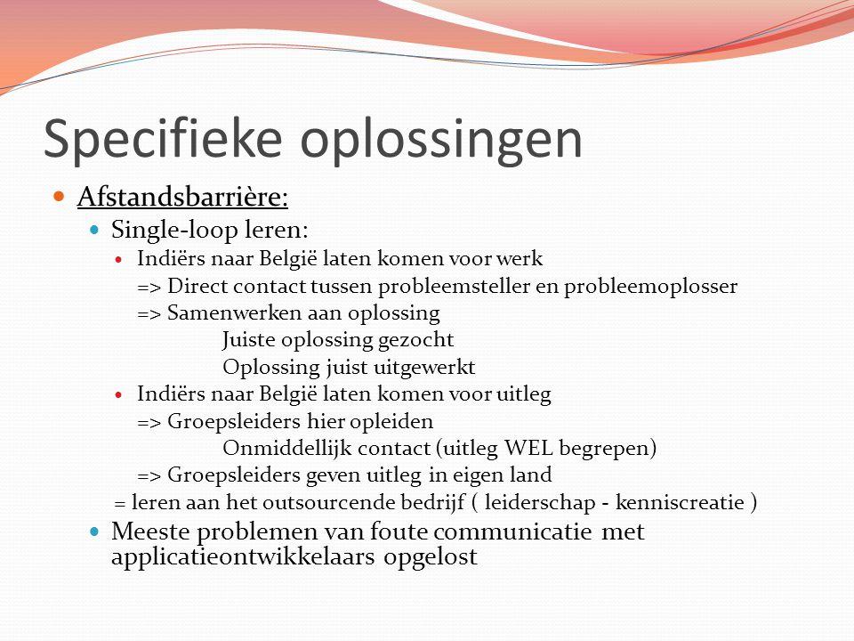 Specifieke oplossingen Afstandsbarrière: Single-loop leren: Indiërs naar België laten komen voor werk => Direct contact tussen probleemsteller en prob