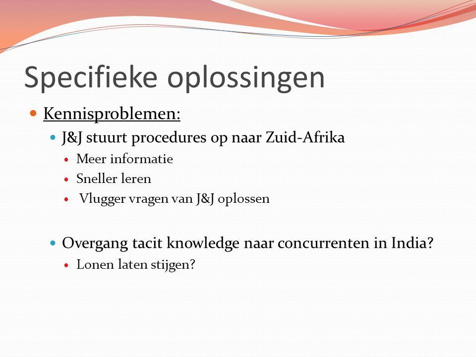 Specifieke oplossingen Kennisproblemen: J&J stuurt procedures op naar Zuid-Afrika Meer informatie Sneller leren Vlugger vragen van J&J oplossen Overga