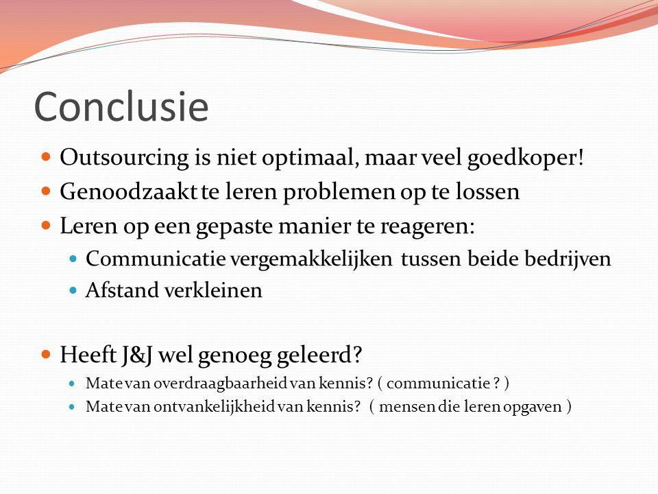 Conclusie Outsourcing is niet optimaal, maar veel goedkoper! Genoodzaakt te leren problemen op te lossen Leren op een gepaste manier te reageren: Comm