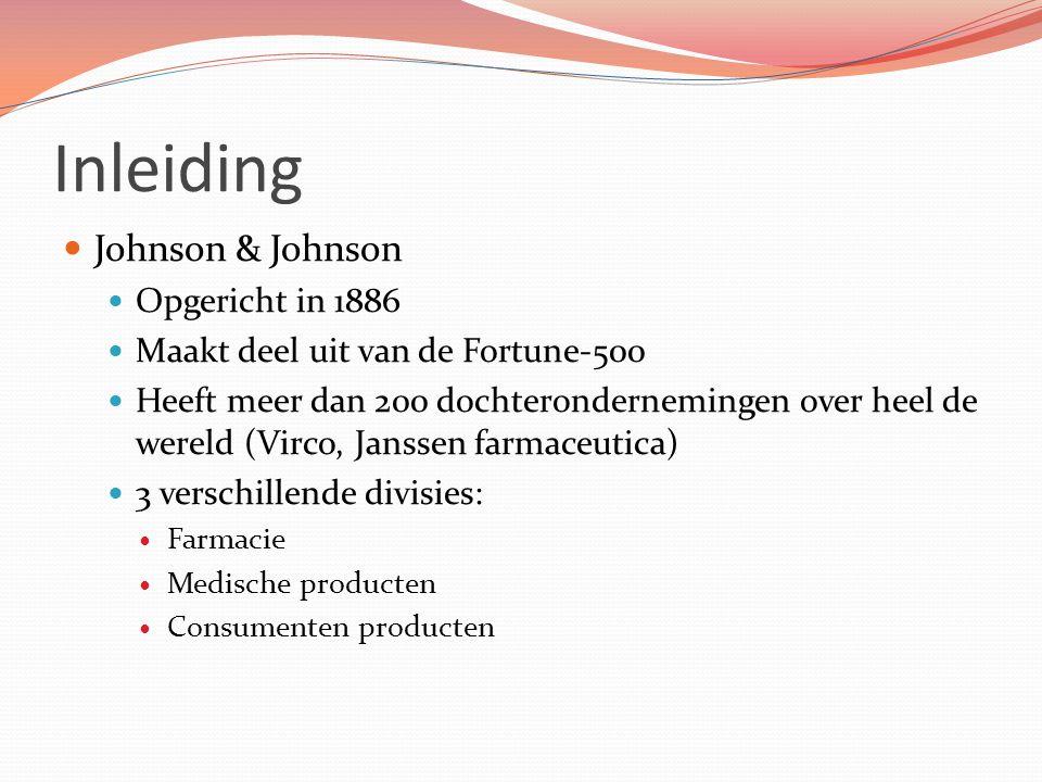 Inleiding Johnson & Johnson Opgericht in 1886 Maakt deel uit van de Fortune-500 Heeft meer dan 200 dochterondernemingen over heel de wereld (Virco, Ja