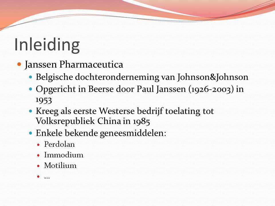 Inleiding Janssen Pharmaceutica Belgische dochteronderneming van Johnson&Johnson Opgericht in Beerse door Paul Janssen (1926-2003) in 1953 Kreeg als e