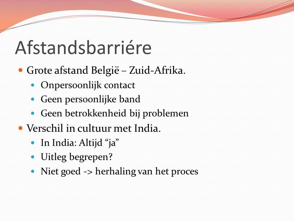 Afstandsbarriére Grote afstand België – Zuid-Afrika. Onpersoonlijk contact Geen persoonlijke band Geen betrokkenheid bij problemen Verschil in cultuur