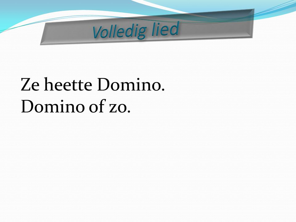 Ze heette Domino. Domino of zo.