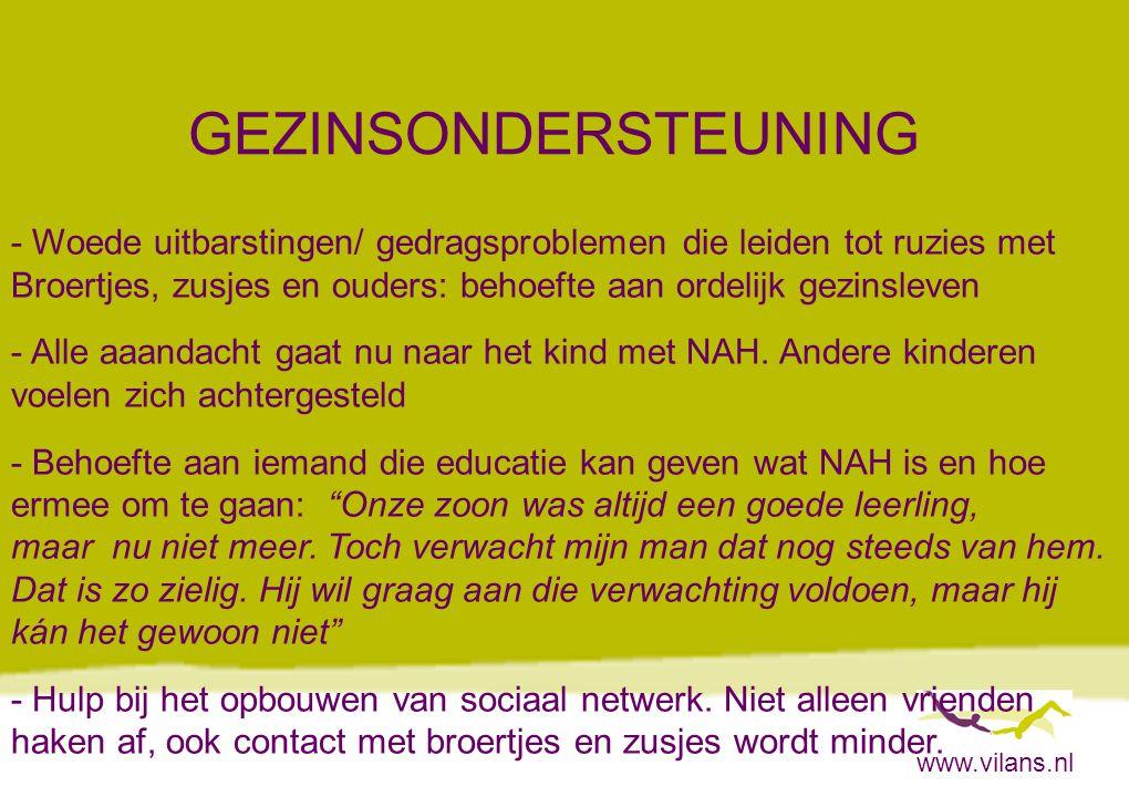 www.vilans.nl GEZINSONDERSTEUNING - Woede uitbarstingen/ gedragsproblemen die leiden tot ruzies met Broertjes, zusjes en ouders: behoefte aan ordelijk