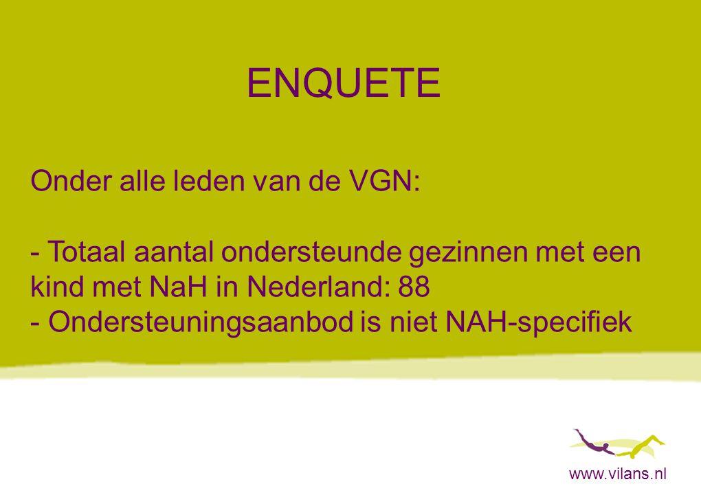 www.vilans.nl ENQUETE Onder alle leden van de VGN: - Totaal aantal ondersteunde gezinnen met een kind met NaH in Nederland: 88 - Ondersteuningsaanbod