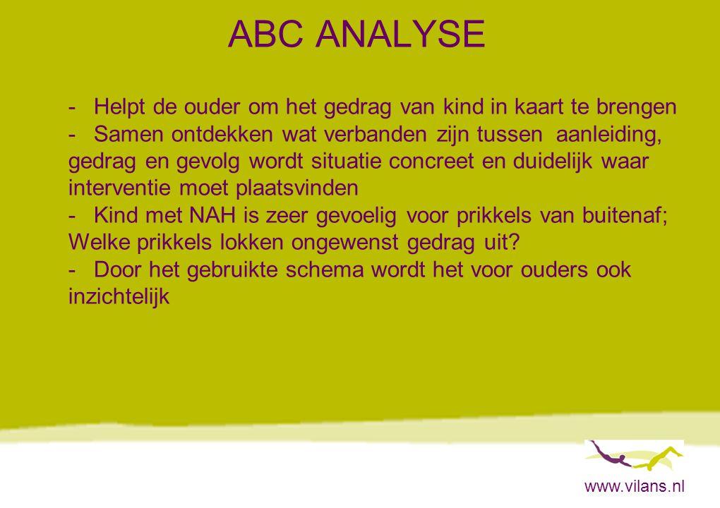 www.vilans.nl ABC ANALYSE -Helpt de ouder om het gedrag van kind in kaart te brengen -Samen ontdekken wat verbanden zijn tussen aanleiding, gedrag en