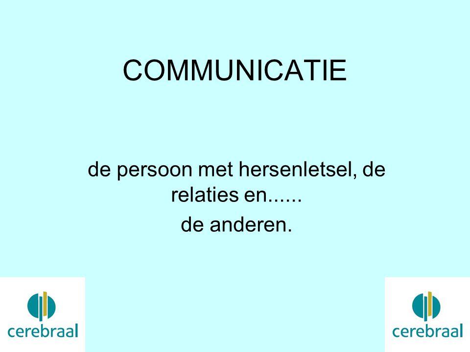 COMMUNICATIE de persoon met hersenletsel, de relaties en...... de anderen.