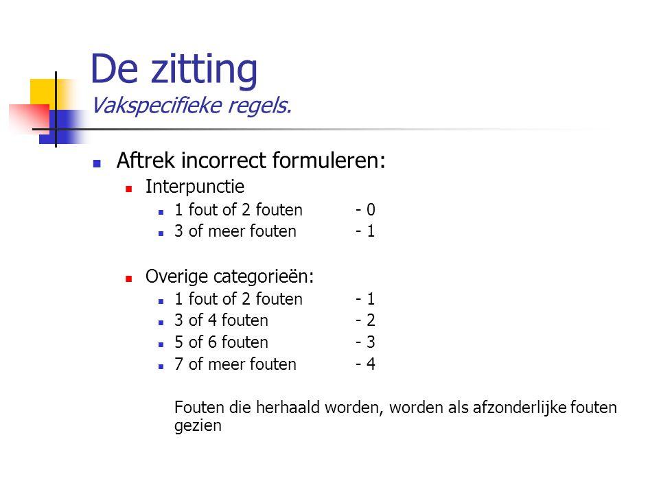 De zitting Vakspecifieke regels. Aftrek incorrect formuleren: Interpunctie 1 fout of 2 fouten- 0 3 of meer fouten - 1 Overige categorieën: 1 fout of 2