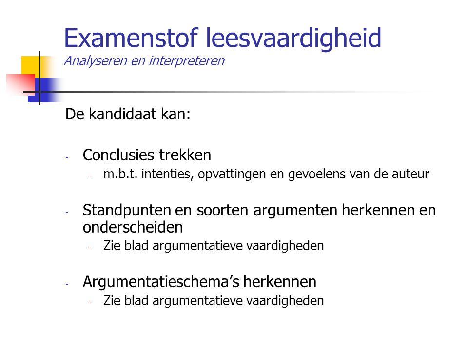 Examenstof leesvaardigheid Analyseren en interpreteren De kandidaat kan: - Conclusies trekken - m.b.t. intenties, opvattingen en gevoelens van de aute