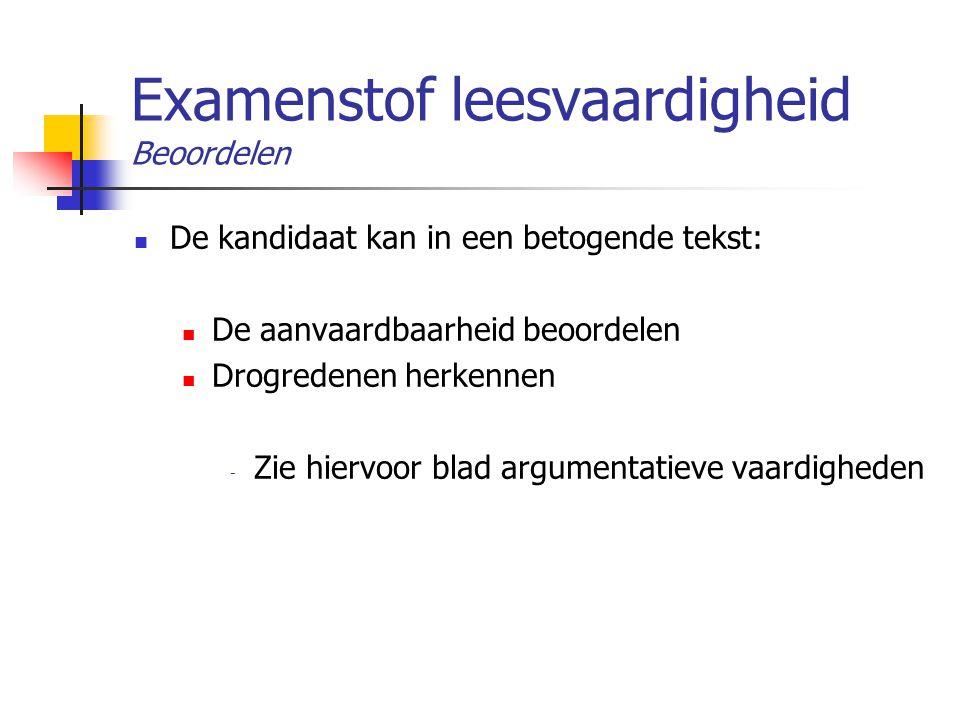 Examenstof leesvaardigheid Beoordelen De kandidaat kan in een betogende tekst: De aanvaardbaarheid beoordelen Drogredenen herkennen - Zie hiervoor bla