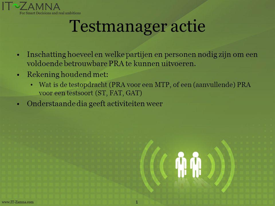 Testmanager actie Inschatting hoeveel en welke partijen en personen nodig zijn om een voldoende betrouwbare PRA te kunnen uitvoeren. Rekening houdend
