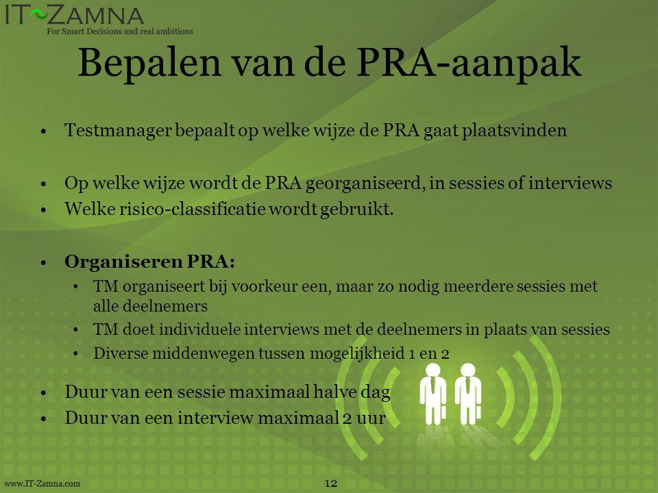 Bepalen van de PRA-aanpak Testmanager bepaalt op welke wijze de PRA gaat plaatsvinden Op welke wijze wordt de PRA georganiseerd, in sessies of intervi