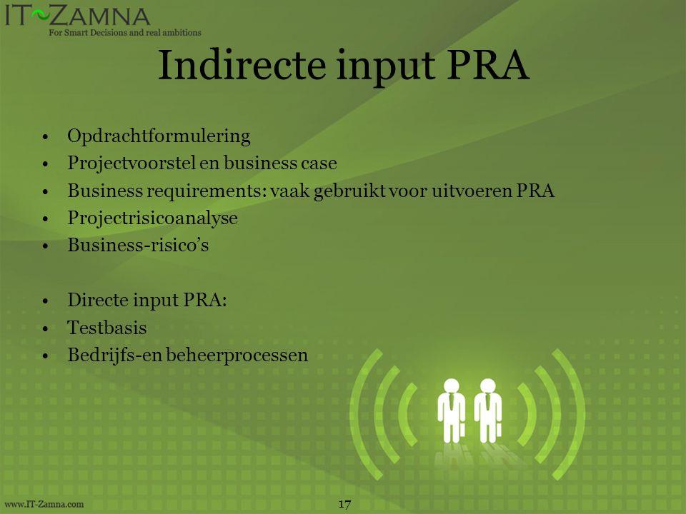 Indirecte input PRA Opdrachtformulering Projectvoorstel en business case Business requirements: vaak gebruikt voor uitvoeren PRA Projectrisicoanalyse