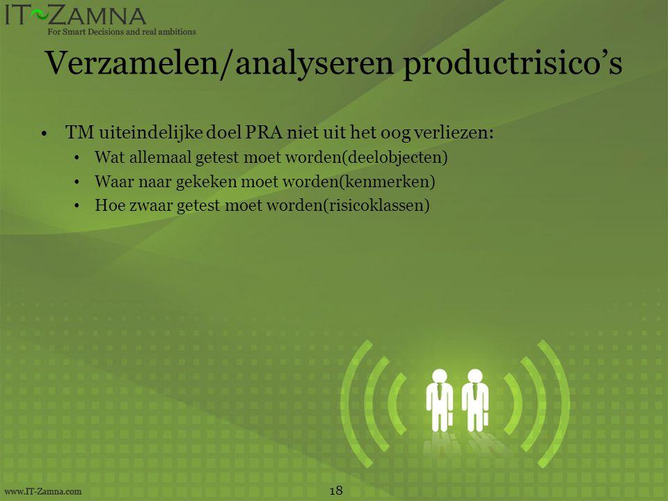 Verzamelen/analyseren productrisico's TM uiteindelijke doel PRA niet uit het oog verliezen: Wat allemaal getest moet worden(deelobjecten) Waar naar ge