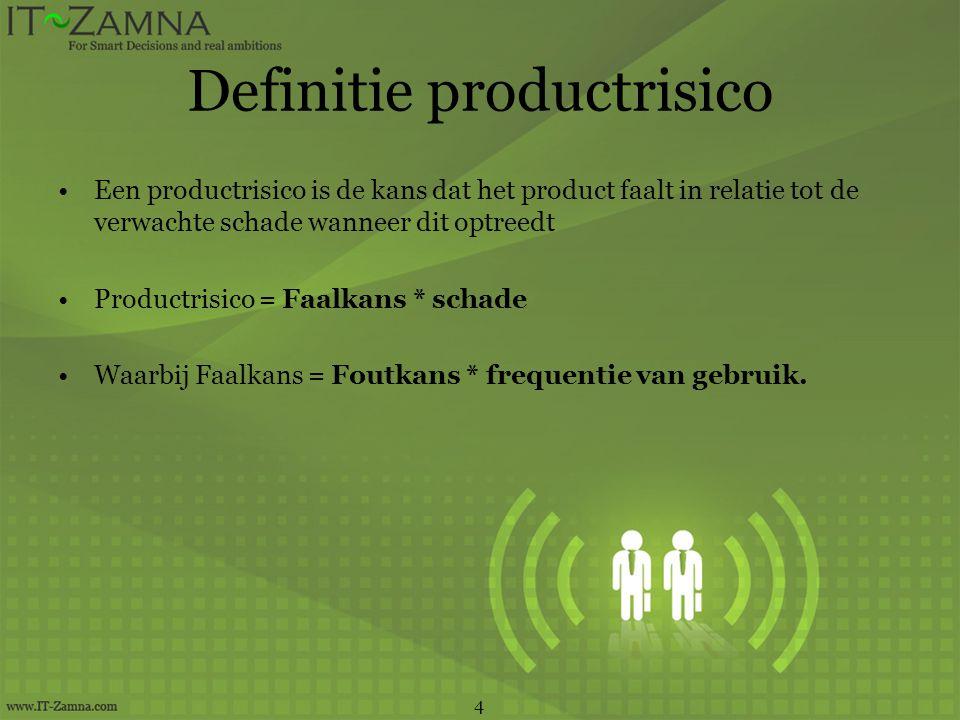 Definitie productrisico Een productrisico is de kans dat het product faalt in relatie tot de verwachte schade wanneer dit optreedt Productrisico = Faa