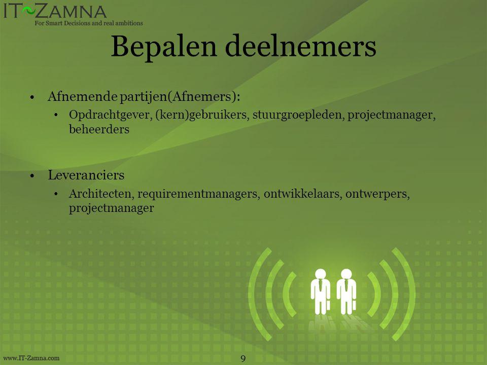 Bepalen deelnemers Afnemende partijen(Afnemers): Opdrachtgever, (kern)gebruikers, stuurgroepleden, projectmanager, beheerders Leveranciers Architecten