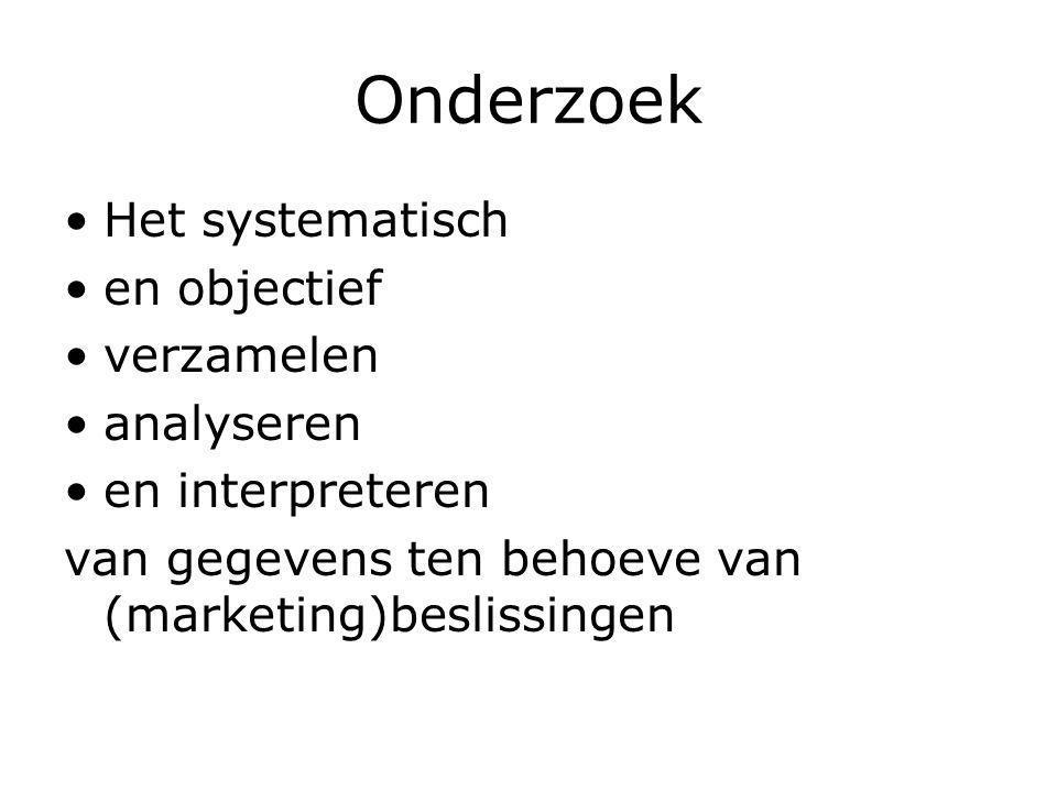 Onderzoek Het systematisch en objectief verzamelen analyseren en interpreteren van gegevens ten behoeve van (marketing)beslissingen