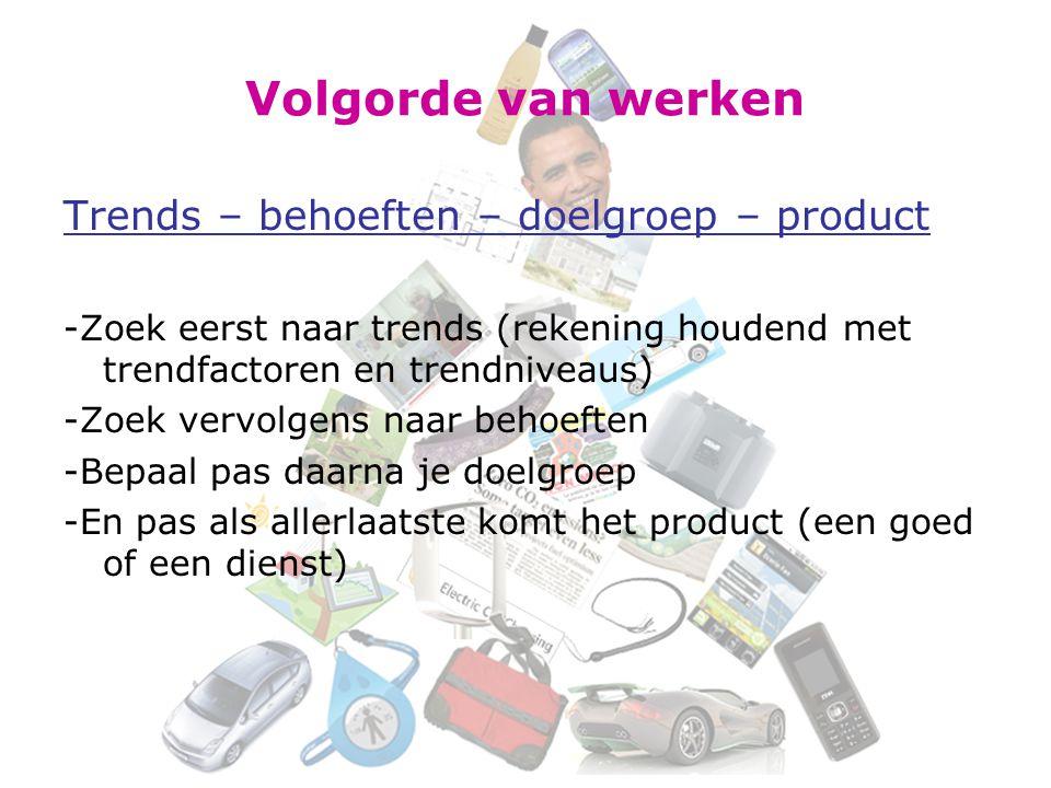 Volgorde van werken Trends – behoeften – doelgroep – product -Zoek eerst naar trends (rekening houdend met trendfactoren en trendniveaus) -Zoek vervolgens naar behoeften -Bepaal pas daarna je doelgroep -En pas als allerlaatste komt het product (een goed of een dienst)