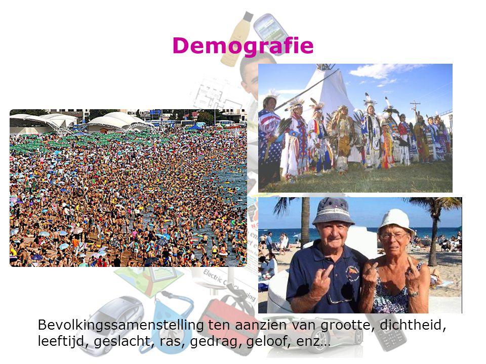 Demografie Bevolkingssamenstelling ten aanzien van grootte, dichtheid, leeftijd, geslacht, ras, gedrag, geloof, enz…