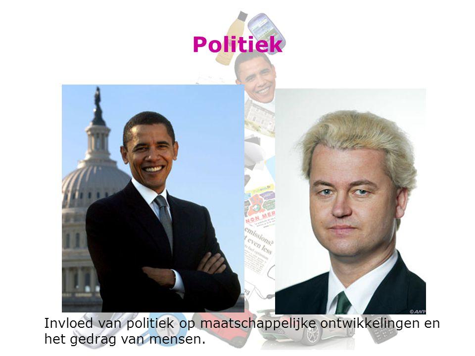 Politiek Invloed van politiek op maatschappelijke ontwikkelingen en het gedrag van mensen.