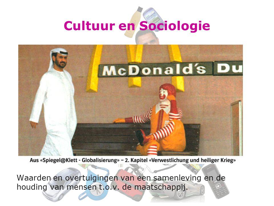 Cultuur en Sociologie Waarden en overtuigingen van een samenleving en de houding van mensen t.o.v. de maatschappij.