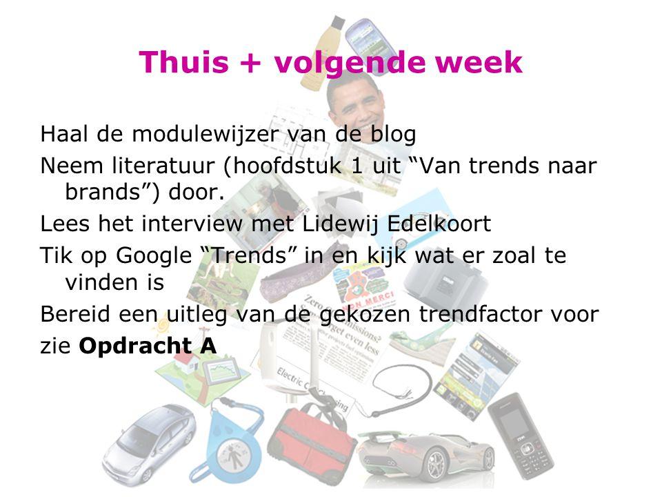"""Thuis + volgende week Haal de modulewijzer van de blog Neem literatuur (hoofdstuk 1 uit """"Van trends naar brands"""") door. Lees het interview met Lidewij"""