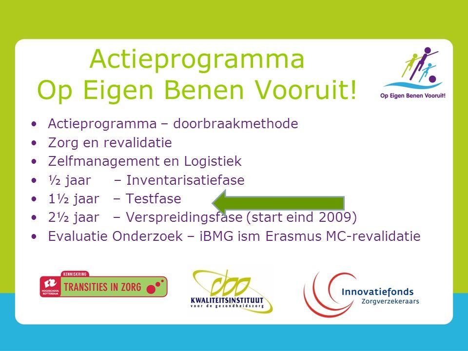 Actieprogramma – doorbraakmethode Zorg en revalidatie Zelfmanagement en Logistiek ½ jaar – Inventarisatiefase 1½ jaar – Testfase 2½ jaar – Verspreidingsfase (start eind 2009) Evaluatie Onderzoek – iBMG ism Erasmus MC-revalidatie Actieprogramma Op Eigen Benen Vooruit!