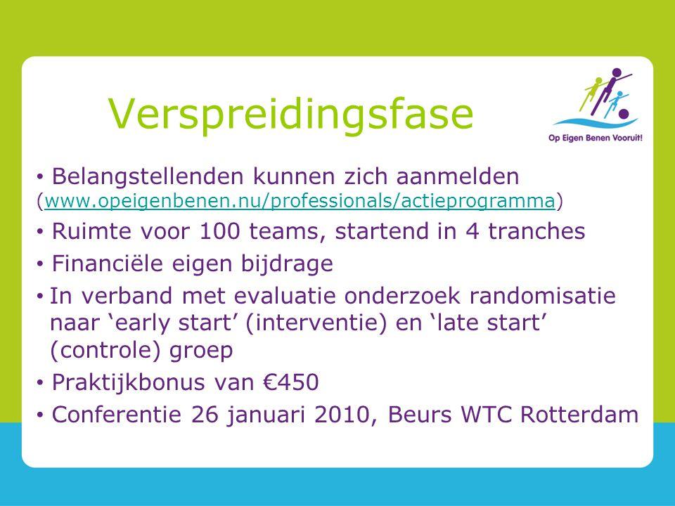 Verspreidingsfase Belangstellenden kunnen zich aanmelden (www.opeigenbenen.nu/professionals/actieprogramma)www.opeigenbenen.nu/professionals/actieprogramma Ruimte voor 100 teams, startend in 4 tranches Financiële eigen bijdrage In verband met evaluatie onderzoek randomisatie naar 'early start' (interventie) en 'late start' (controle) groep Praktijkbonus van €450 Conferentie 26 januari 2010, Beurs WTC Rotterdam