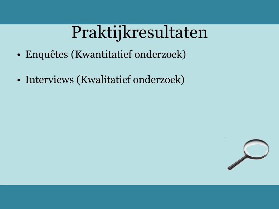 Praktijkresultaten Enquêtes (Kwantitatief onderzoek) Interviews (Kwalitatief onderzoek)