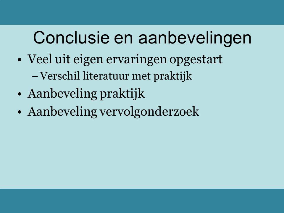 Veel uit eigen ervaringen opgestart –Verschil literatuur met praktijk Aanbeveling praktijk Aanbeveling vervolgonderzoek Conclusie en aanbevelingen