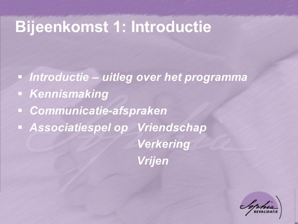 Bijeenkomst 1: Introductie  Introductie – uitleg over het programma  Kennismaking  Communicatie-afspraken  Associatiespel op Vriendschap Verkering Vrijen