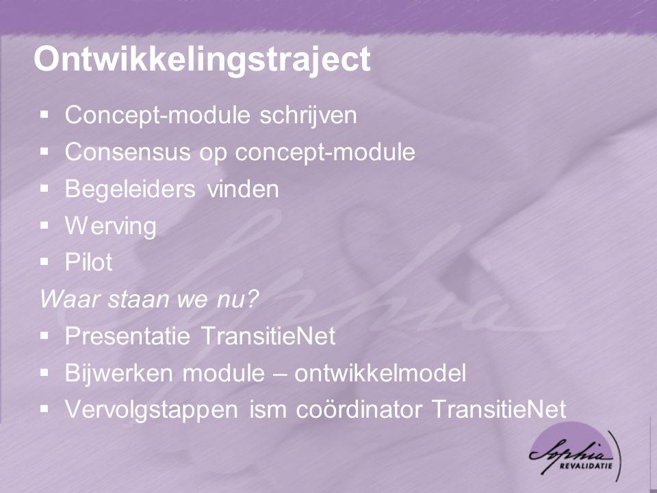 Ontwikkelingstraject  Concept-module schrijven  Consensus op concept-module  Begeleiders vinden  Werving  Pilot Waar staan we nu.