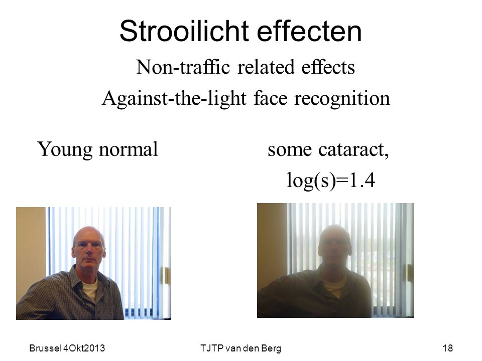 Brussel 4Okt2013TJTP van den Berg18 Strooilicht effecten Non-traffic related effects Against-the-light face recognition Young normalsome cataract, log