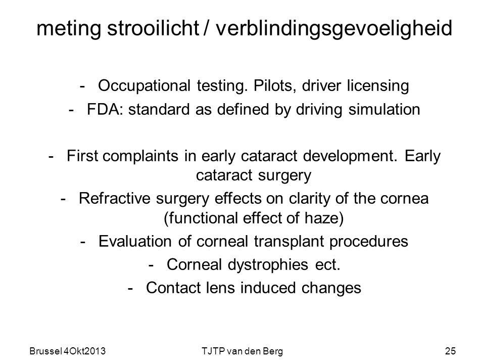 Brussel 4Okt2013TJTP van den Berg25 meting strooilicht / verblindingsgevoeligheid -Occupational testing.