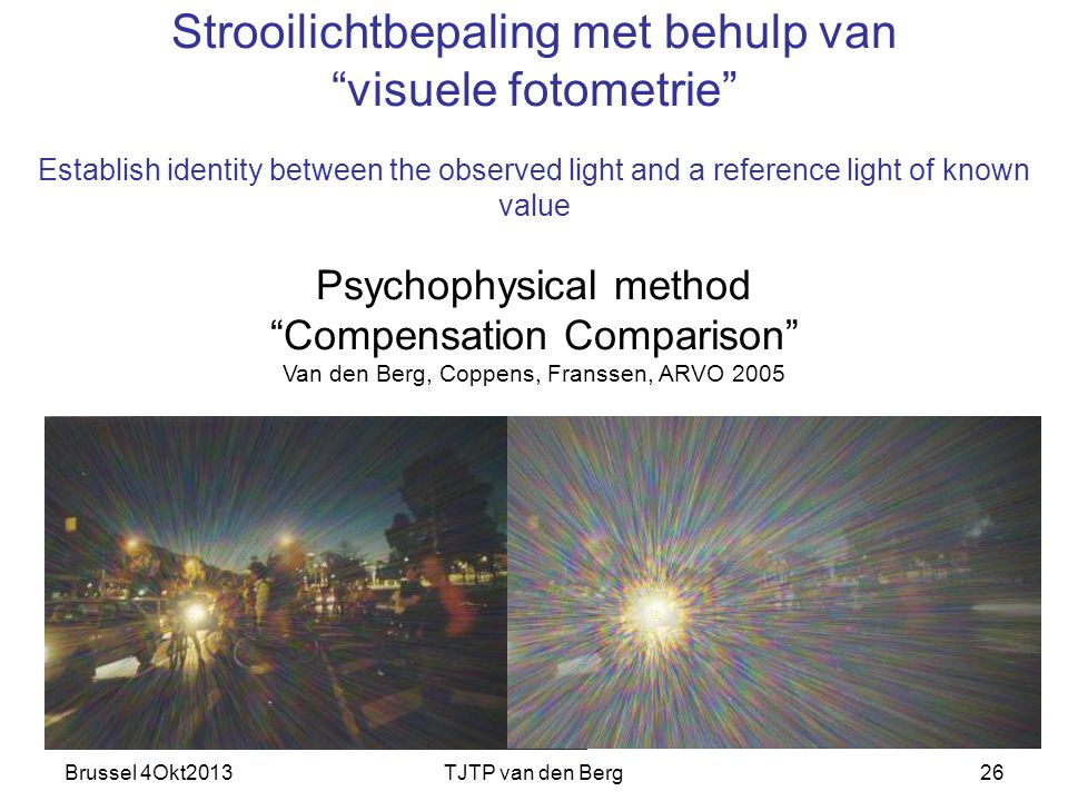 "Brussel 4Okt2013TJTP van den Berg26 Strooilichtbepaling met behulp van ""visuele fotometrie"" Establish identity between the observed light and a refere"