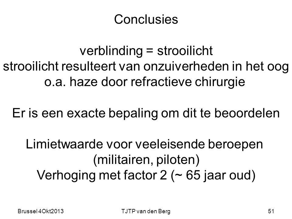 Brussel 4Okt2013TJTP van den Berg51 Conclusies verblinding = strooilicht strooilicht resulteert van onzuiverheden in het oog o.a.