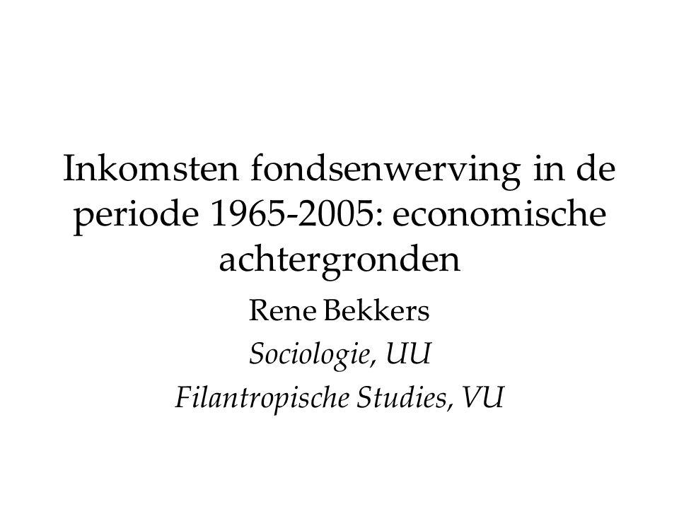 Inkomsten fondsenwerving in de periode 1965-2005: economische achtergronden Rene Bekkers Sociologie, UU Filantropische Studies, VU