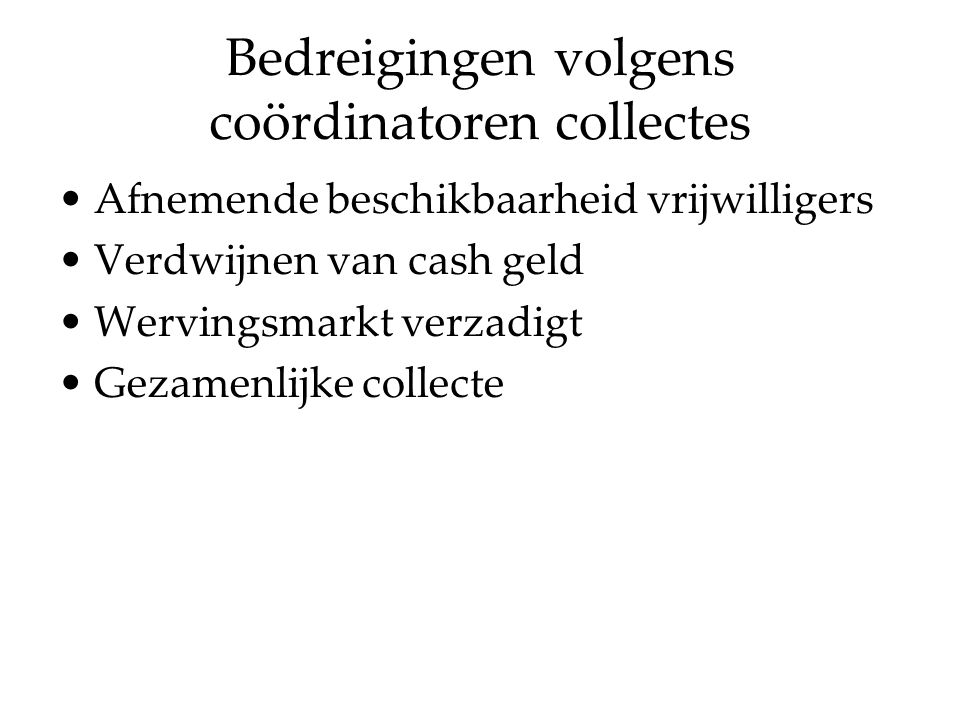 Bedreigingen volgens coördinatoren collectes Afnemende beschikbaarheid vrijwilligers Verdwijnen van cash geld Wervingsmarkt verzadigt Gezamenlijke collecte