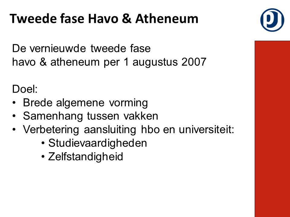 Tweede fase Havo & Atheneum De vernieuwde tweede fase havo & atheneum per 1 augustus 2007 Doel: Brede algemene vorming Samenhang tussen vakken Verbete