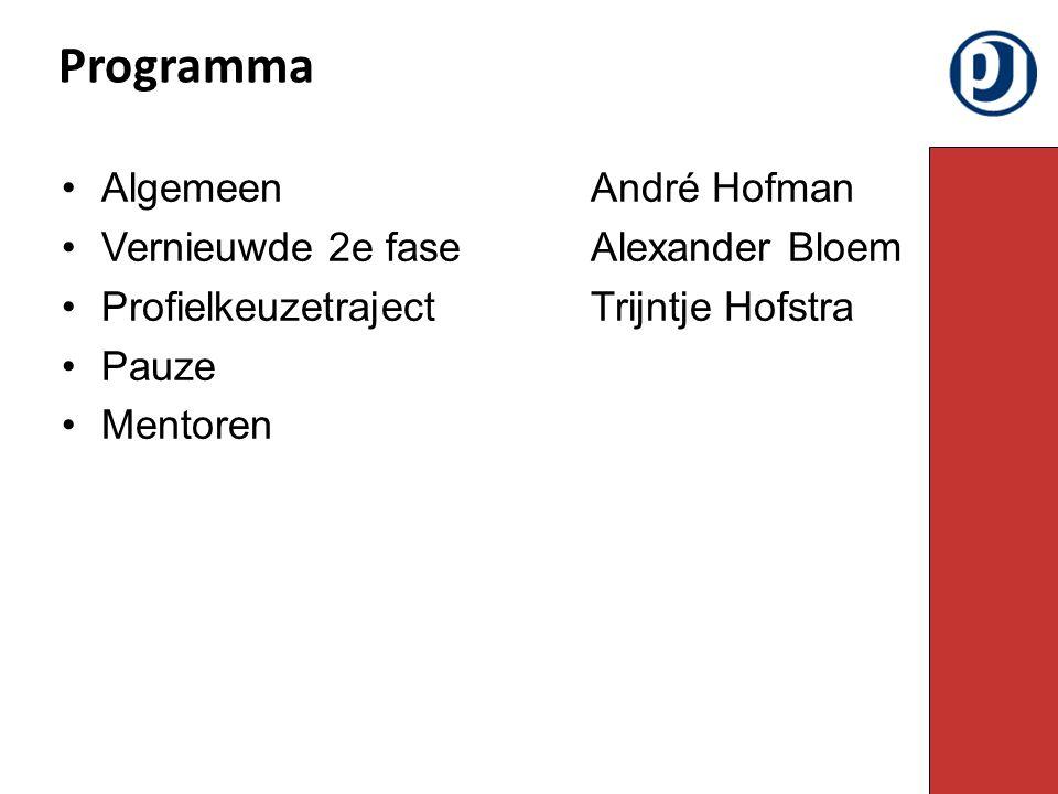 AlgemeenAndré Hofman Vernieuwde 2e fase Alexander Bloem ProfielkeuzetrajectTrijntje Hofstra Pauze Mentoren Programma
