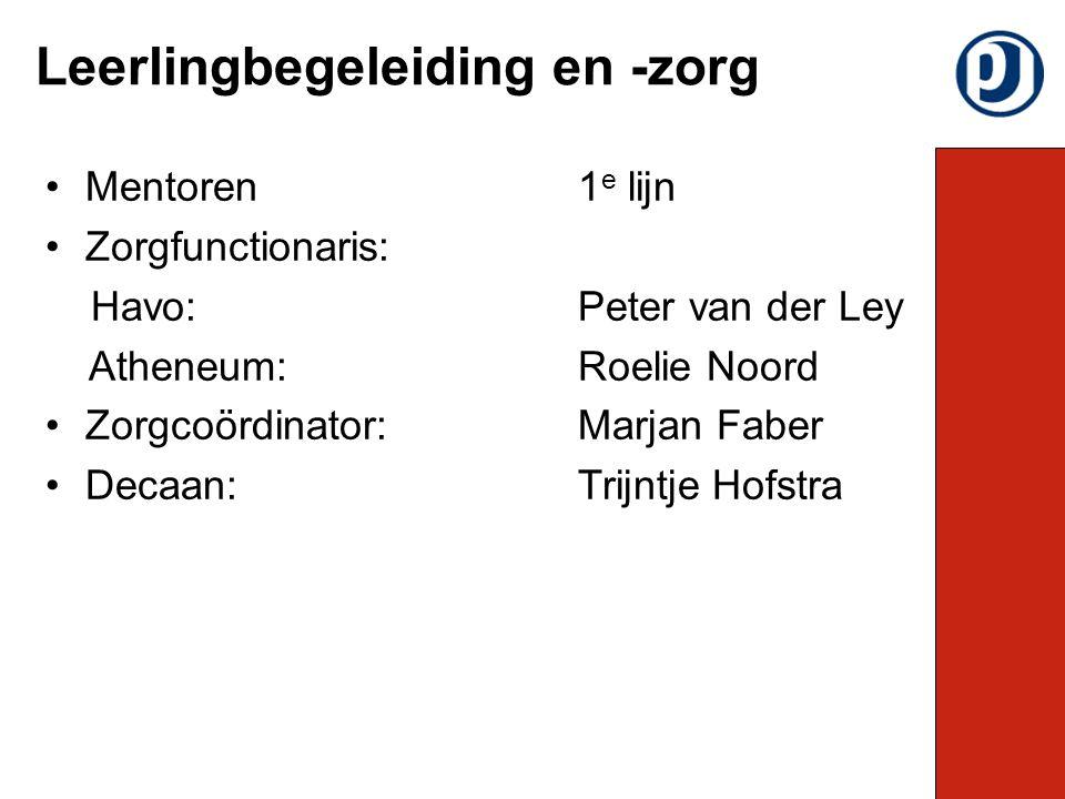 Mentoren1 e lijn Zorgfunctionaris: Havo: Peter van der Ley Atheneum: Roelie Noord Zorgcoördinator: Marjan Faber Decaan: Trijntje Hofstra Leerlingbegeleiding en -zorg