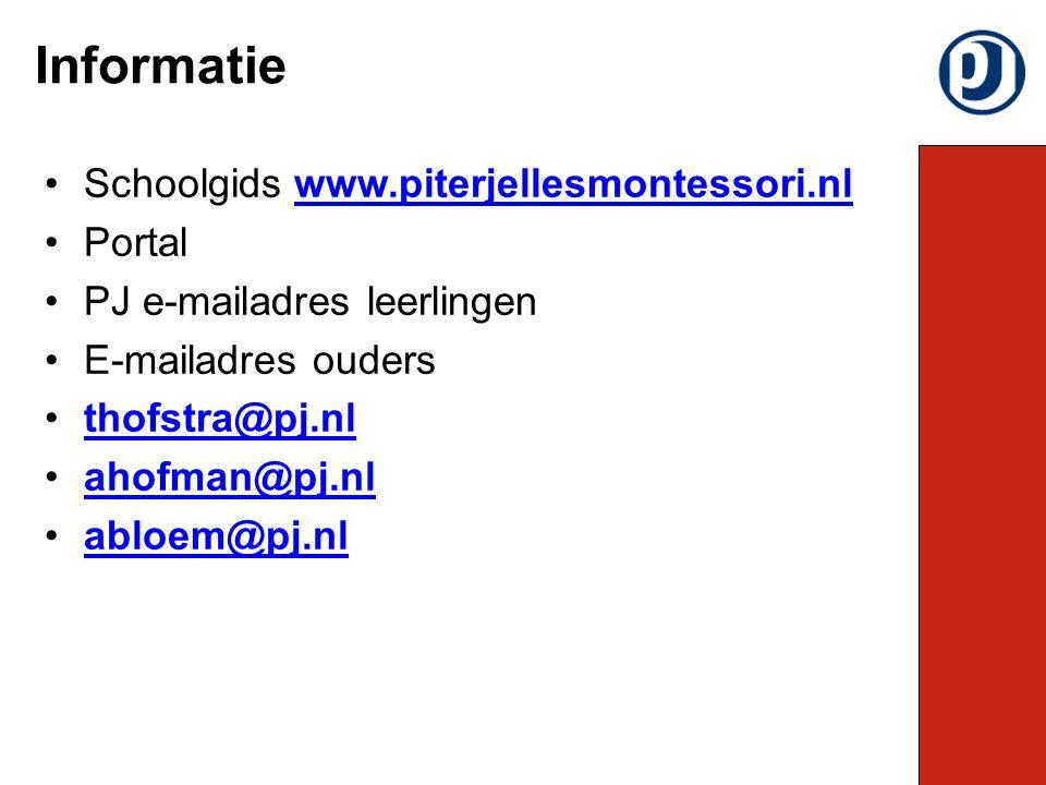 Schoolgids www.piterjellesmontessori.nlwww.piterjellesmontessori.nl Portal PJ e-mailadres leerlingen E-mailadres ouders thofstra@pj.nl ahofman@pj.nl abloem@pj.nl Informatie
