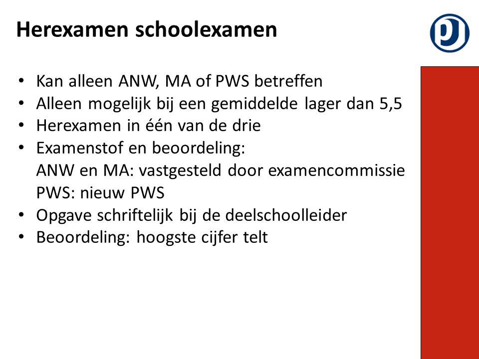 Kan alleen ANW, MA of PWS betreffen Alleen mogelijk bij een gemiddelde lager dan 5,5 Herexamen in één van de drie Examenstof en beoordeling: ANW en MA