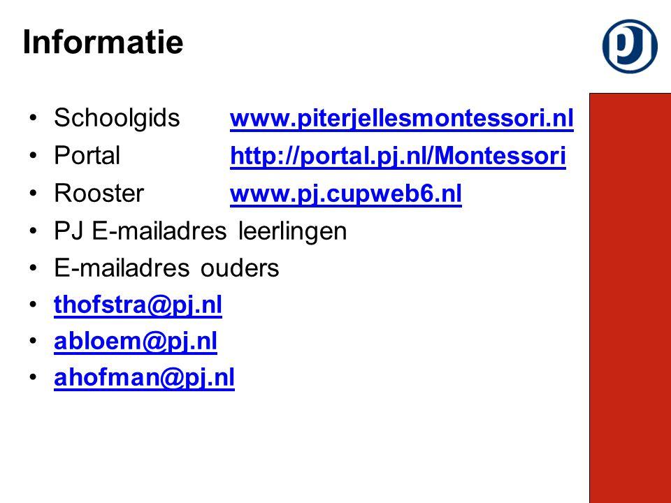 Schoolgids www.piterjellesmontessori.nl www.piterjellesmontessori.nl Portal http://portal.pj.nl/Montessori http://portal.pj.nl/Montessori Rooster www.