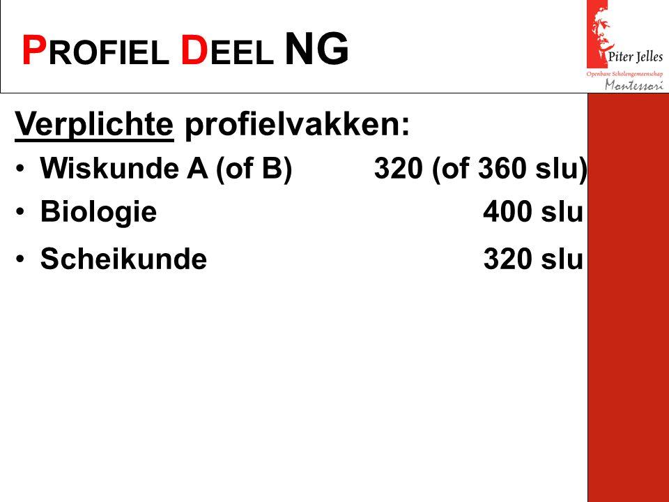 P ROFIEL D EEL NG Montessori Verplichte profielvakken: Wiskunde A (of B) 320 (of 360 slu) Biologie400 slu Scheikunde320 slu