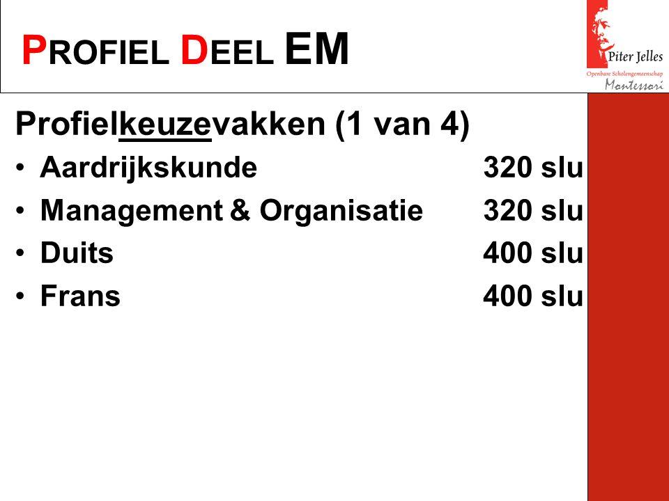 P ROFIEL D EEL EM Montessori Profielkeuzevakken (1 van 4) Aardrijkskunde320 slu Management & Organisatie320 slu Duits400 slu Frans400 slu