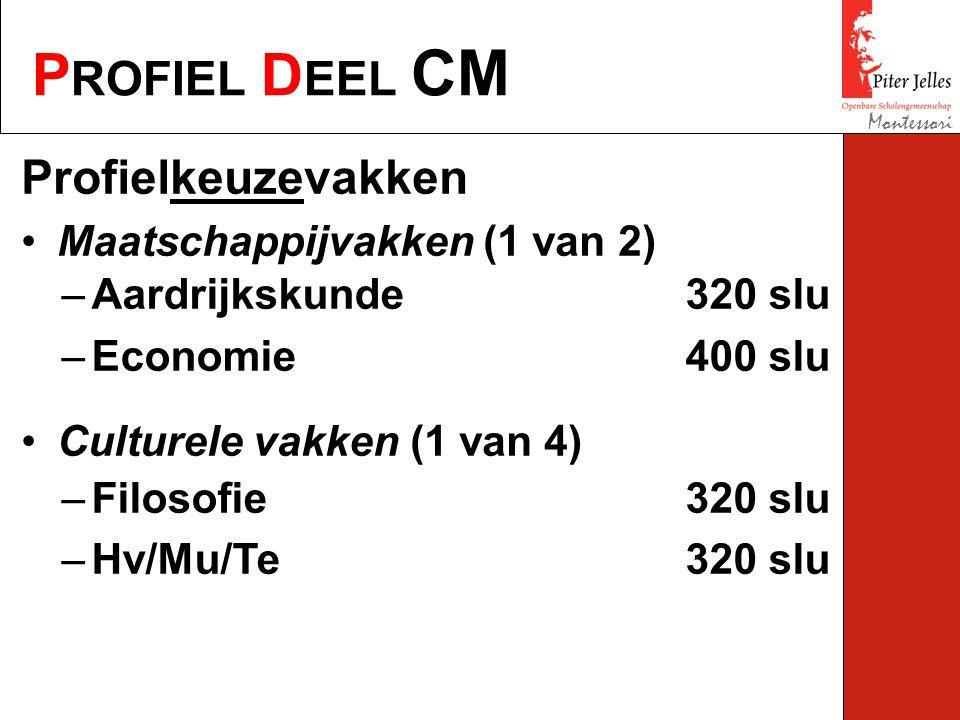 P ROFIEL D EEL CM Montessori Profielkeuzevakken Maatschappijvakken (1 van 2) Culturele vakken (1 van 4) –Aardrijkskunde 320 slu –Economie400 slu –Filosofie320 slu –Hv/Mu/Te320 slu
