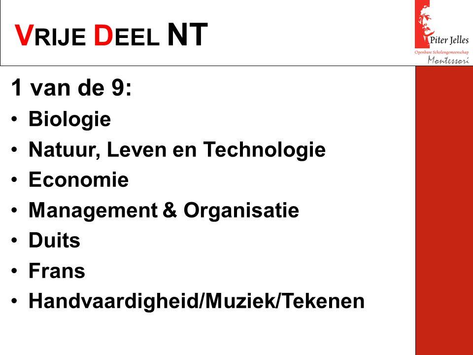 V RIJE D EEL NT Montessori 1 van de 9: Biologie Natuur, Leven en Technologie Economie Management & Organisatie Duits Frans Handvaardigheid/Muziek/Tekenen