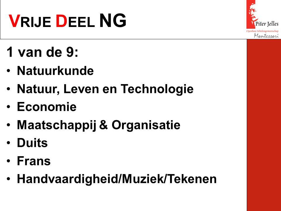 V RIJE D EEL NG Montessori 1 van de 9: Natuurkunde Natuur, Leven en Technologie Economie Maatschappij & Organisatie Duits Frans Handvaardigheid/Muziek/Tekenen