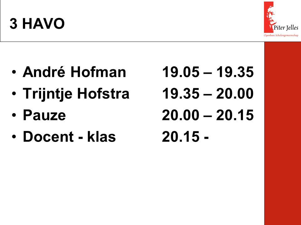 André Hofman19.05 – 19.35 Trijntje Hofstra19.35 – 20.00 Pauze20.00 – 20.15 Docent - klas20.15 - 3 HAVO